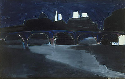 Nicolas de Staël, Pont des Arts at Night, 1954, image from the Hermitage Museum