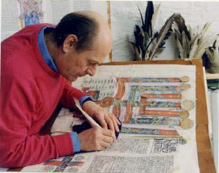 Donald Jackson at work, St. John's Bible