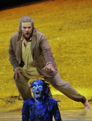 Rod Gilfry as Prospero and Cyndia Sieden as Ariel, The Tempest, Santa Fe Opera, set and costumes designed by Paul Brown, photo by Ken Howard &#169; 2006
