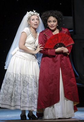 Maureen McKay (left) and Ailyn Pérez as Susanna and the Countess, The Marriage of Figaro, costumes by Gabriel Berry, Wolf Trap Opera, 2006, photograph by Stan Barouh