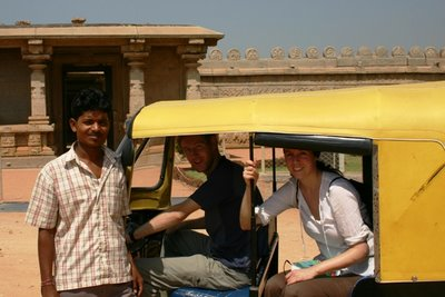 Paul and Rachel in an autorickshaw, Hampi
