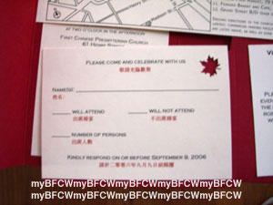 My big fat chinese wedding invitations the rsvp card with a maple leaf punched out in the corner to give just a hint of a fall wedding all the english wording is screwed up mix of formal and stopboris Image collections