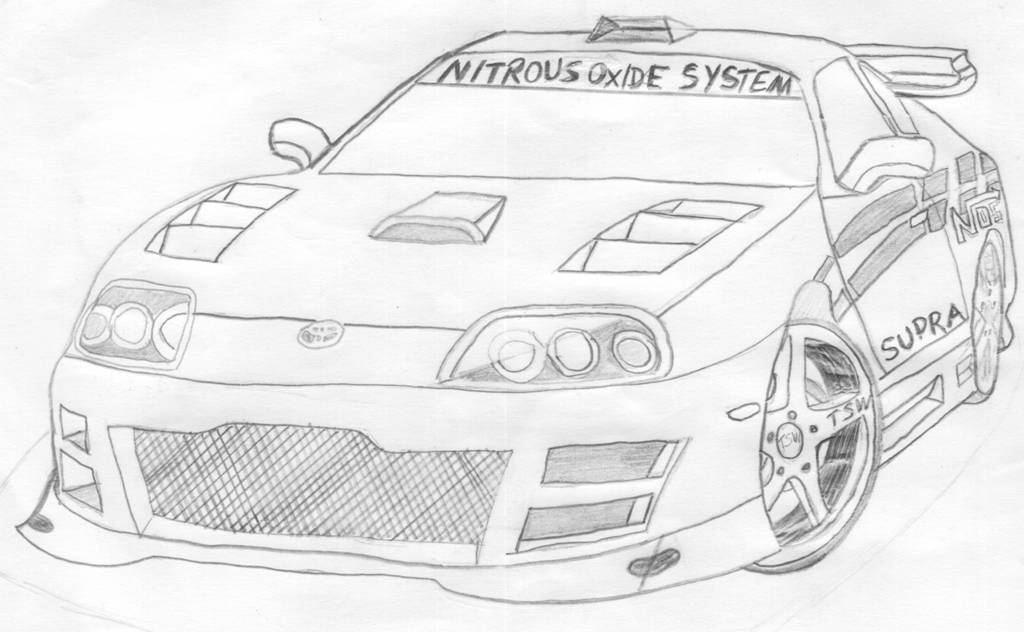 Toyota Supra Drawing Sketch Coloring