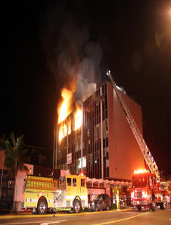 Los Angeles Firefighters battle Major Emergency Fire at Westgate Center. &copy Josh Harville  FirelinePhoto.com