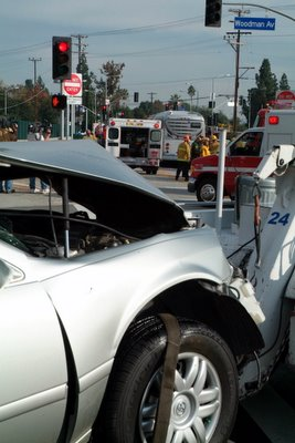 Sedan that collided with Metro Orange Line Bus in Van Nuys/Valley Glen. Photo by Rick McClure, LAFD