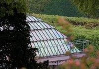 Der Blick von einem Labyrinth genannten Rundgang auf einen Hügel mit einem Belvedere. Man sieht eine Art Orangerie, deren Namen ich vergessen habe, die aber momentan eh renoviert wird.