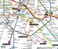 In schwarz eingezeichnet der Weg per Métro, von mir zur Kneipe. Der Abstecher bei Denfert ist nur auf dem Rückweg wirklich sinnvoll, da dort beim Umsteigen dann 'auf demselben Bahnsteig gegenüber' gilt.