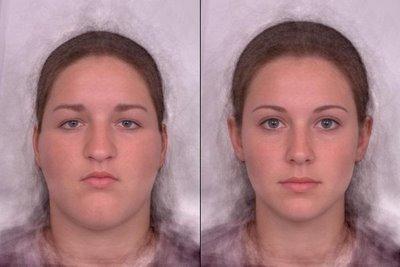Computergenerierte Gesichter mit freundlicher Genehmigung von faceresearch.org. Links ein Beispiel für ein sehr unattraktives Gesicht, rechts für ein sehr attraktives. An den sehr interessanten Experimenten mit diesen Gesichtern könnt ihr unter http://www.faceresearch.org/ selbst teilnehmen.