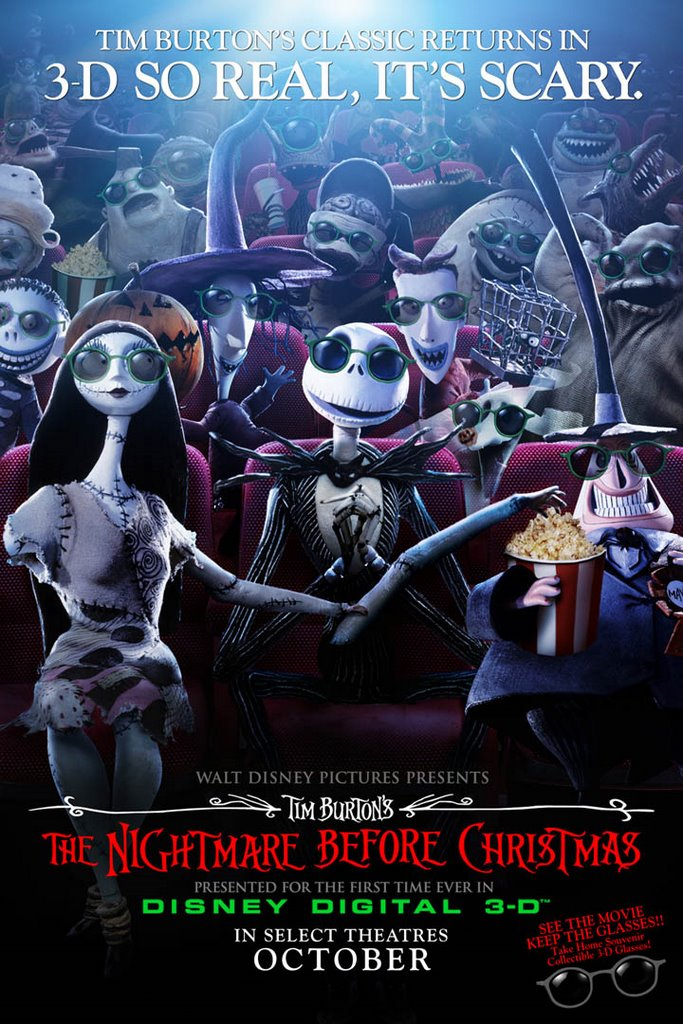 theatrical release of tim burtons the nightmare before christmas in digital 3d the film will open in select theaters in october - The Nightmare Before Christmas Poster