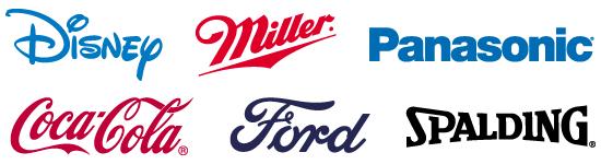 Disney, Miller, Panasonic, Coca-Cola, Ford, Spalding