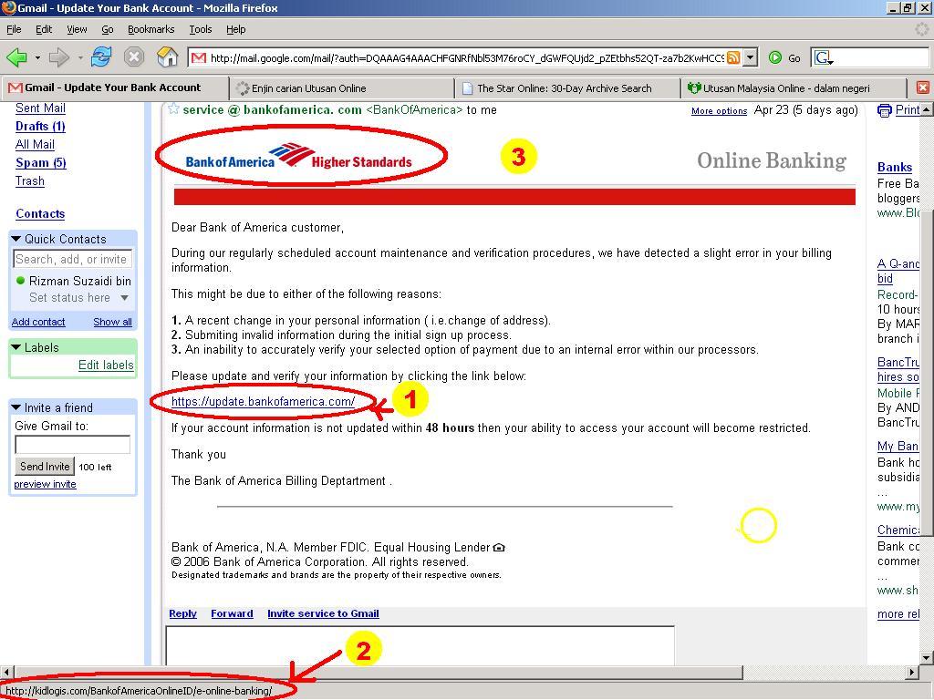 contoh e-mel phishing - bertanda