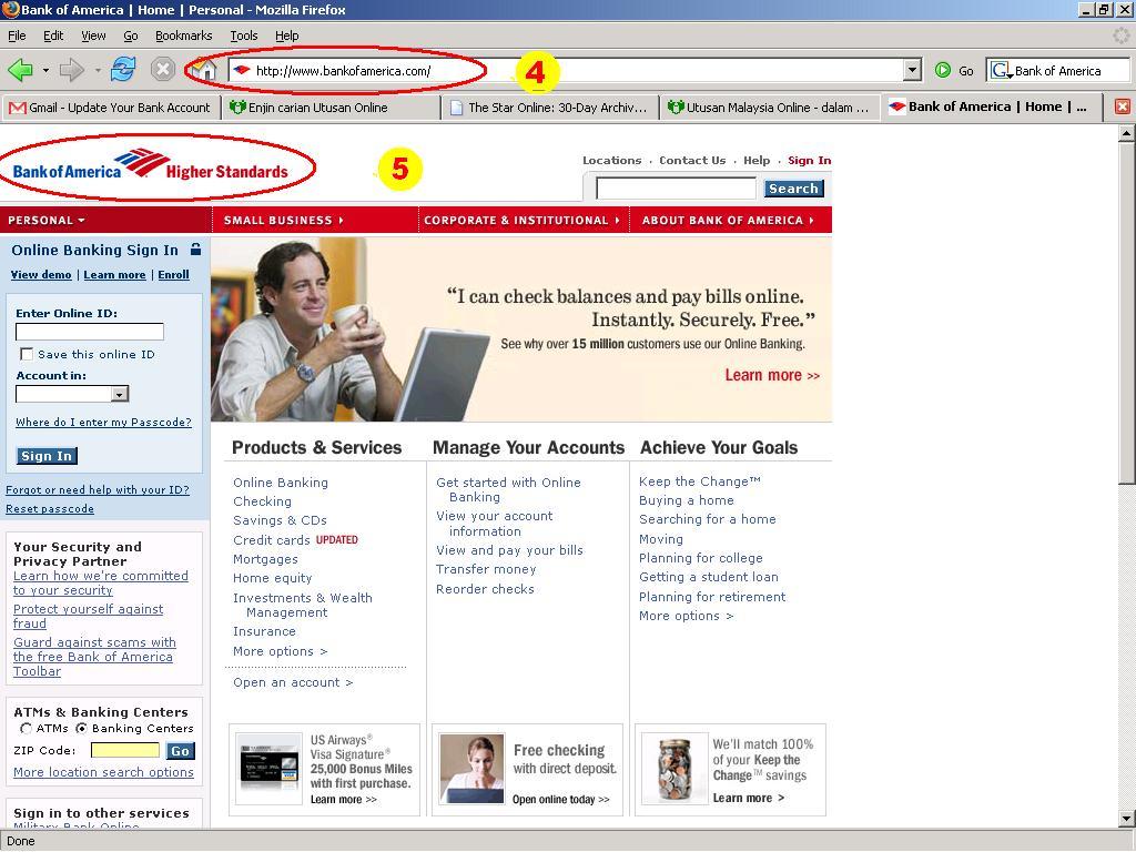 website sebenar Bank Of America - bertanda