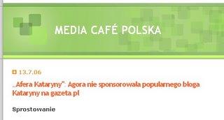 Media Cafe - sprostowanie
