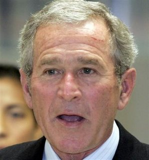 Bush with big cut on his face