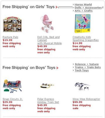 Target's suggested toys for girls are boring and cheap.