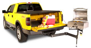 Trailer hitch barbecue bbq grill on a Ford F150 pickup