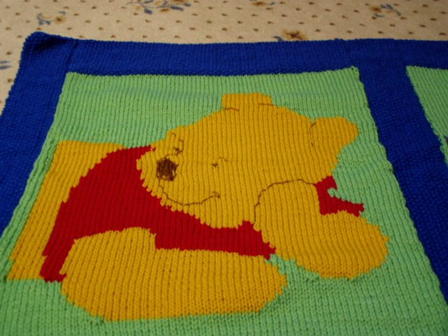 Knits-N-Purrs Gallery: Winnie-the-Pooh Afghan, Fall 2002
