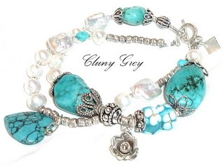 turquoise bracelet with pearls and sterling silver