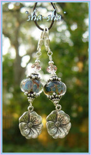 sha-sha handcrafted jewelry =  Alabama Camelia Earrings