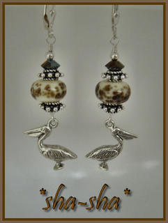 sha-sha handcrafted jewelry = Louisiana Pelican Earrings