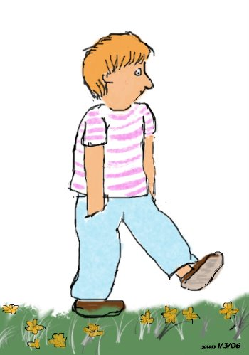 A boy walks on the grass. Drawn on 1/3/2006