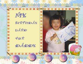 Emma's birthday card for daddy