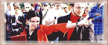 Io e Misatella SD appena promossa comandante per averci fatto vincere il Cosplay di Lucca nel 99 :)