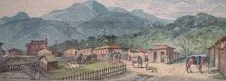 Casa Pintada, Jacarehy, 1827. Gravura aquarelada, col. particular