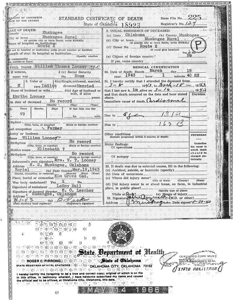 My family genealogy death certificate for william thomas looney 1betcityfo Images