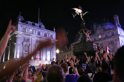 Piccadilly Circus after French semi-final victory