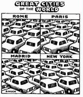'Great Cities of the World' cartoon, depicting traffic jams everywhere