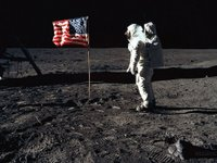 buzz aldrin flag moon