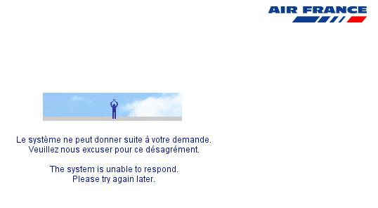 Air France. Joli message d'erreur sur mon compte flying blue