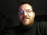 I like the lighting, but I forgot to smile! Me with my Steve Jobs jumper on, and my full winter beard!