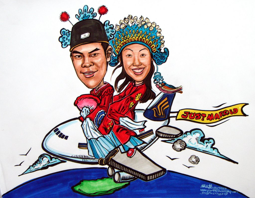 couple caricatures in traditional wedding on SIA plane | caricatures ...