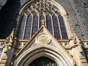 Above the main entrance doors