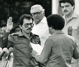 Sandinista leader Daniel Ortega is sworn in as president of Nicaragua in this 1985 file photo in Managua, Nicaragua. (AP Photo/La Prensa, file)
