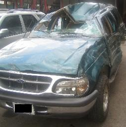 The Ford Explorer of my family after the car crash with the trailer truck.