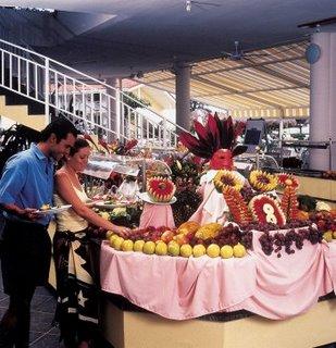 Food display at Barcelo Hotel in Playa Tambor, Costa Rica