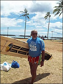 Rabbit Kekai, already in his eighties, still surfs