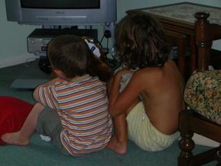 Cousins watching TV