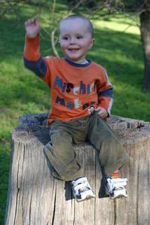 Joel sat on an old tree stump