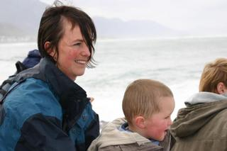 Paula & Joel whale watching in Hermanus without much success