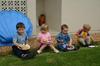Caleb, Michelle, Joel & Matthew enjoying the braai