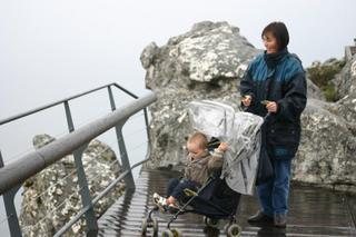 Joel & Mum enjoying the view but not the rain