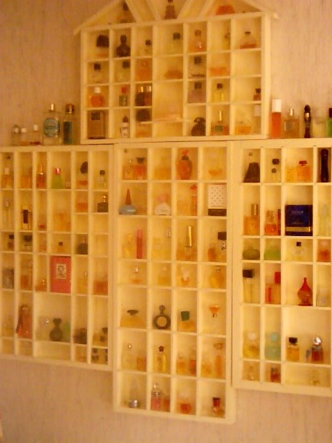 On The Wall Of My Perfumery Room I Have Cabinets With Some Perfume  Miniatures.