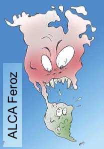 caricatura de america del norte comiendo a la del sur (TLC)