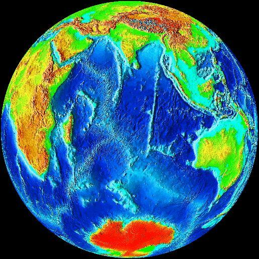 """Altitude-encoded view of Earth, from John Walker's """"Earth"""" screen saver v2"""