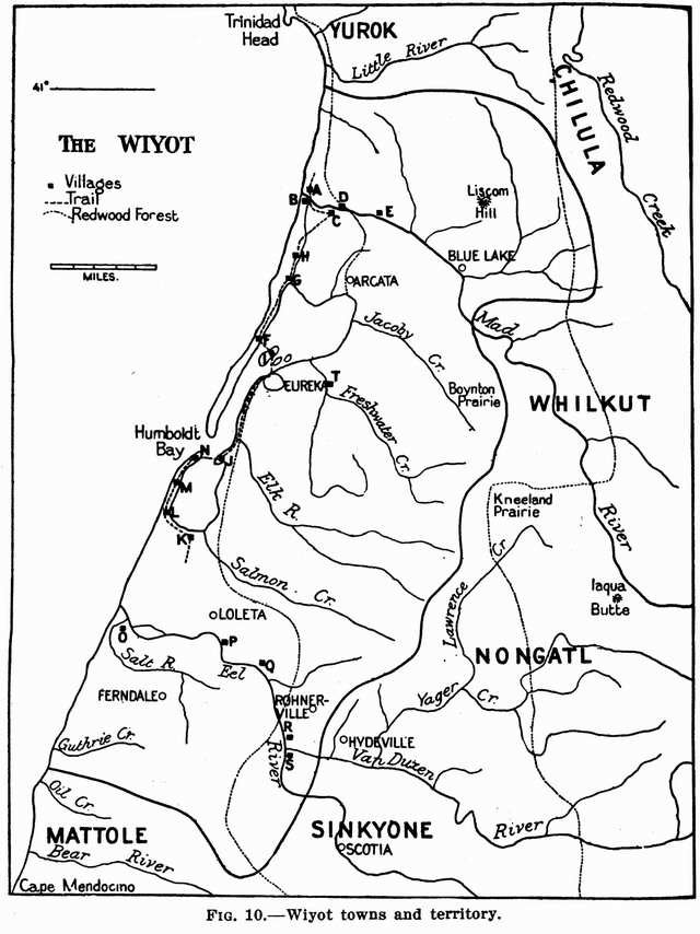 Fig. 10: Wiyot towns and territory.