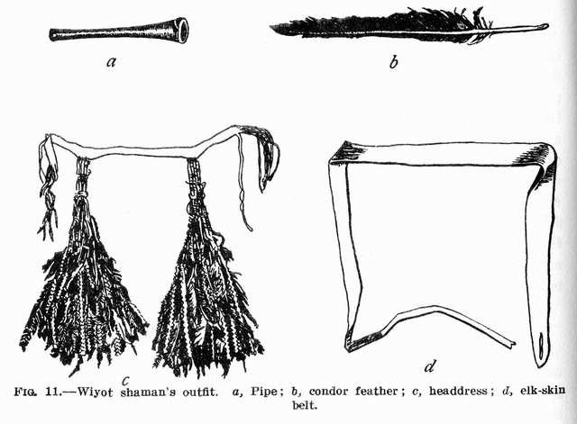 Fig. 11: Wiyot shaman's outfit: pipe, condor feather, headdress, elk-skin belt.
